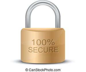Metallic padlock. 100% Secure - SSL Certificates Sign for...