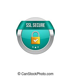 SSL secure protection symbol. SSL security transaction button with ribbon. Lock guard design icon