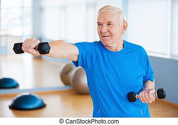stálý, činky, age., klacek, pohyb, starší, sebejistý, čas, ...