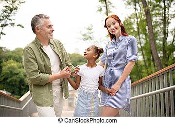 stálý, šikovný, dcera, jejich, rodiče, roztomilý