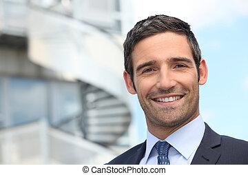 stálý, budova, business úřadovna, mimo, úsměv osoba