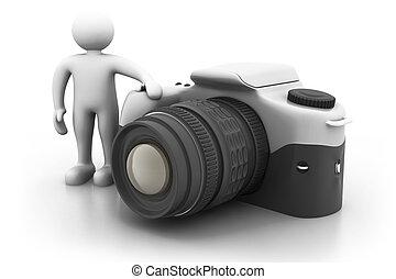stálý, dále, velký, kamera., prst voják, 3