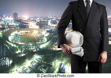 stálý, helma, majetek, městský, dělníci, up, rukopis, bezpečnost, grafické pozadí, čelo, uzavřít, neposkvrněný, rozmazaný, bezpečí, inženýr