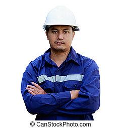 stálý, helma, osamocený, bezpečnost, asijský, grafické pozadí, portrét, neposkvrněný, inženýr