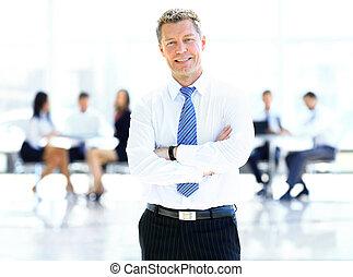 stálý, jeho, úřad, povolání, úspěšný, grafické pozadí, voják, hůl