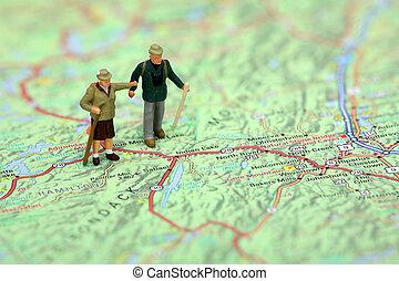 stálý, mapa, turista, miniatura