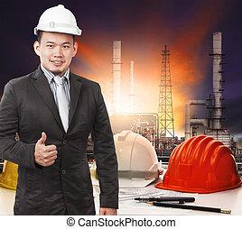 stálý, petrochemický, pracovní, mládě, o, pohádka, čelo, inženýr