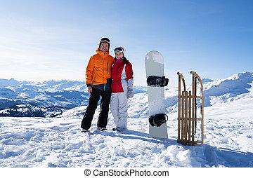 stálý, sáně, sněžit, mládě, šťastný, snowboard, dvojice