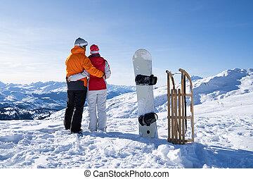 stálý, sáně, sněžit, mládě, snowboard, dvojice