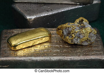 stäbe, gold, &, klumpen, goldbarren, silber