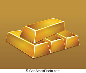 stäbe., vektor, gold