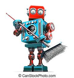 städare, klippning, isolated., innehåll, robot, mop., bana