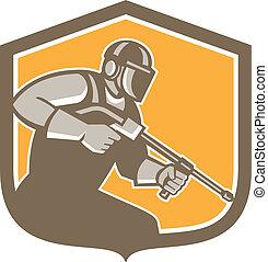 städare, skydda, arbetare, tryck, retro, packning