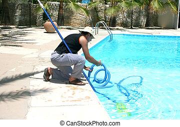städare, slå samman, simning