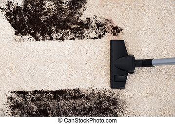 städare, tomrum, rensning, matta