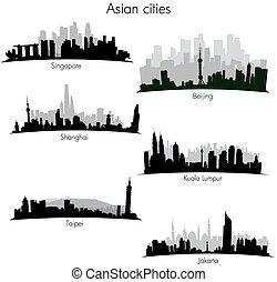 städte, skylines, asiatisch