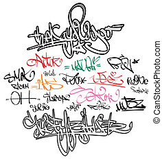städtisch, etikette, graffiti, unterschrift