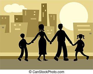 städtisch, familie