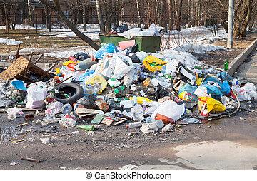 städtisch, haushalt, muell, dumpster