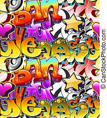 städtisch, kunst, seamless, hintergrund., graffiti, design
