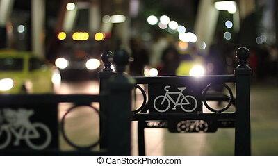 städtisch, nachtleben, fahrradgestell