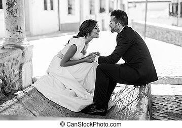 städtisch, paar, verheiratet, hintergrund, gerecht