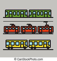 städtisch, silhouetten, transport, sammlung, auto