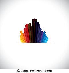 städtisch, stadt, ikone, oder, wolkenkratzer, von, groß, gewerblich, gebäude, -, vektor, graphic., der, bunte, abbildung, enthält, hohes steigen, &, groß, türme, in, farben, mögen, rotes , orange, schwarz, blaues, usw