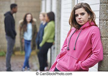 städtisch, Teenager, Umwelt, Bande, hängender, heraus