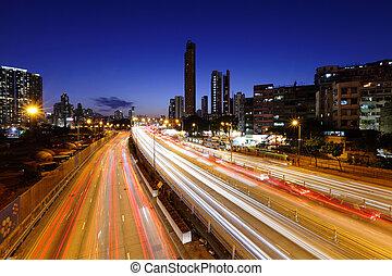 städtisch, verkehr, landstraße, nacht
