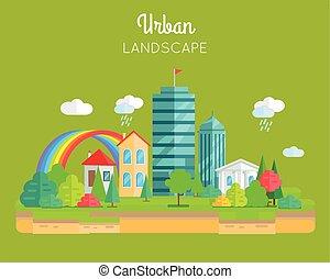 städtische landschaft, vektor, begriff, in, wohnung, design.