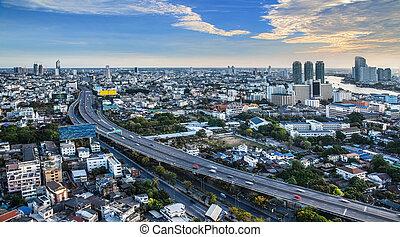 städtischer skyline, thailand., stadt, bangkok