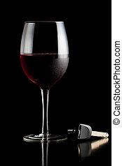 stämm, bil, vin, röd, glas
