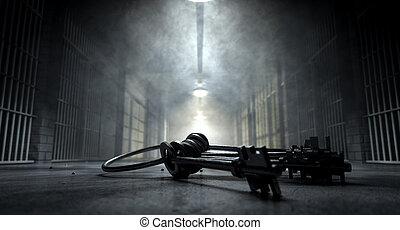 stämm, fängelse, korridor