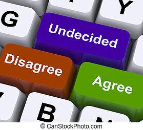 stämm, ha en annan åsikt, obestämd, direkt, poll, avtala