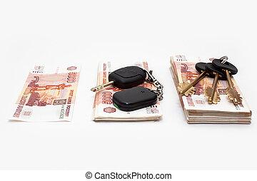 stämm, hus, bil, pengar