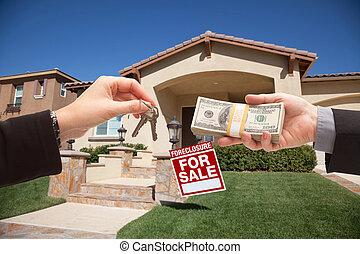 stämm, hus, gir överens, kontanter