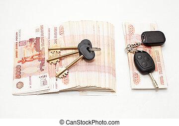 stämm, hus, kontanter, bil
