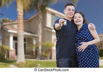 stämm, hus, par, hispanic, färsk, främre del, hem