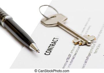 stämm, hus, penna, contract., färsk