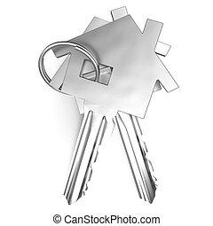 stämm, hus, unlocking, säkerhet hemma, eller, visar