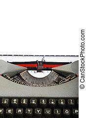 stämm, närbild, pappa, gammal, skrivmaskin
