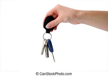 stämm, nyckel, fob, hängande