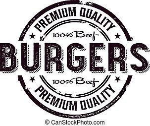stämpel, årgång, burger, meny