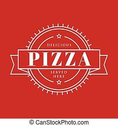stämpel, årgång, pizza, underteckna