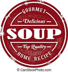 stämpel, årgång, soppa
