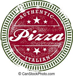 stämpel, årgång, stil, pizza