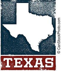 stämpel, årgång, texas, underteckna