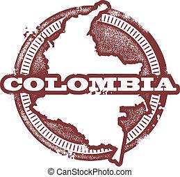 stämpel, amerika, colombia, syd