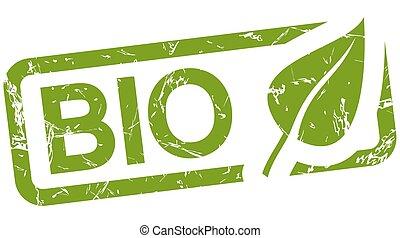 stämpel, bio, grön, text